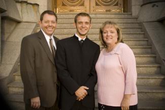 At Jason's wedding at the Salt Lake Temple