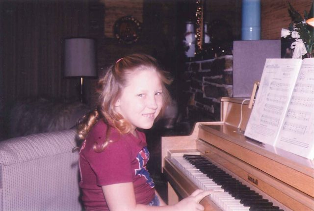 Becky playing the piano