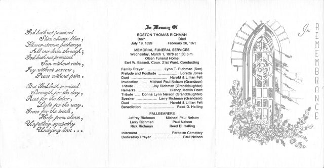 Funeral Program for Boston Obray Thomas