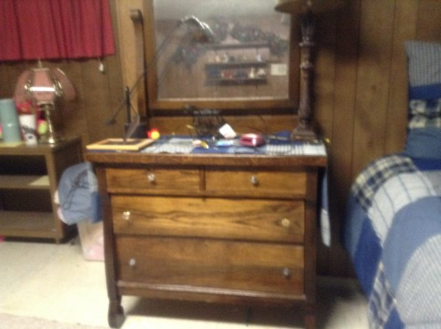 Photo of a dresser that Boston used most of her life. It originally was her mother's. It was refinished sometime prior to 2015 and given to Hailee. At that time, it was at least 136 years old.