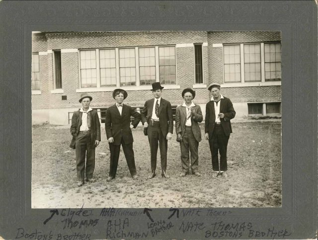 Clyde Thomas, Aha Richman, [unknown], Nate Thomas, and [unknown] at Paradise School
