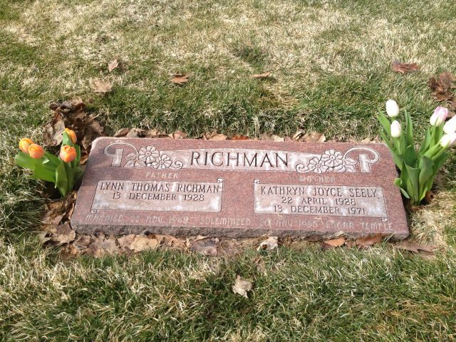 Headstone for Kathryn Joyce Seely Richman and Lynn Richman at the cemetery in Brigham City, Utah