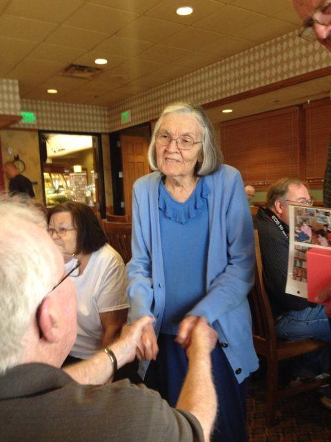 Gwen Goates at Kent's 70th birthday dinner June 2014