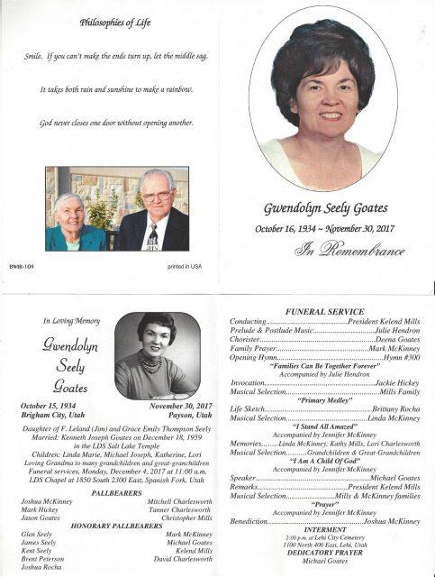 Gwen Seely Goates' funeral program