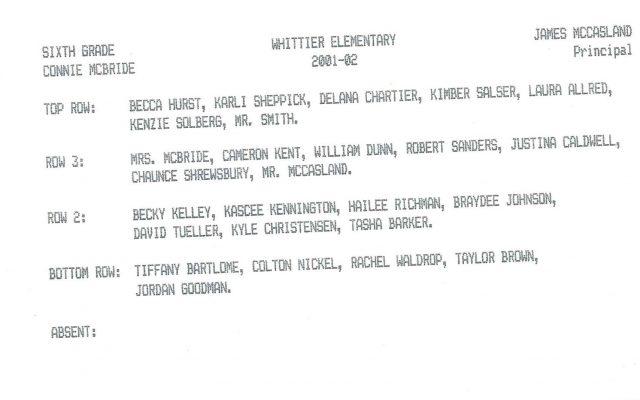 Hailee's class photo, sixth grade