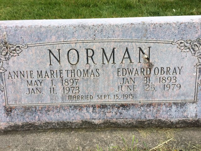 Headstone of Annie Marie Thomas & Edward Obray Norman