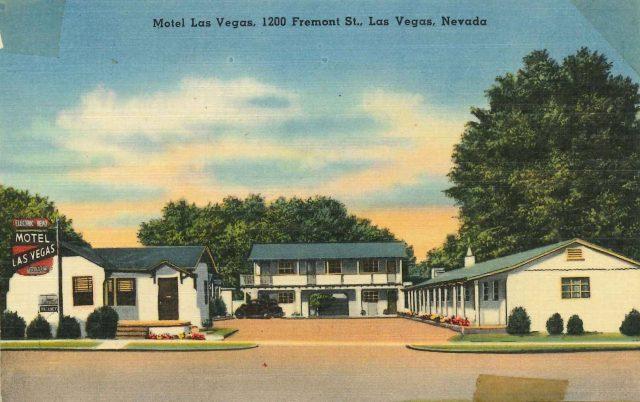 Postcard from honeymoon motel in Las Vegas, 1948