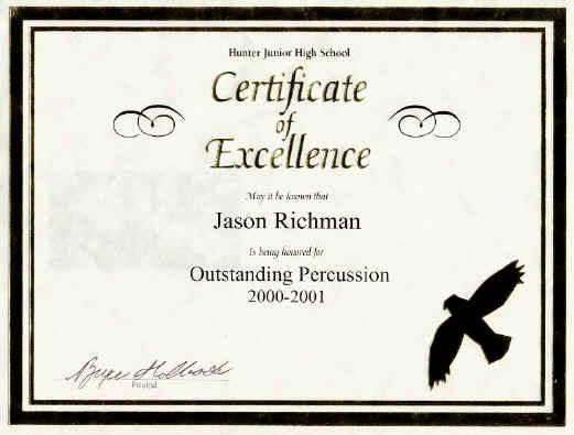 Jason's drum award, 2000-1