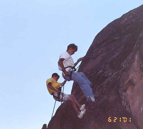 Jason repelling in Moab, June 2001