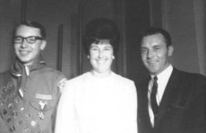 Jeff with his parents, Joyce and Lynn, when he received is Eagle Scout award