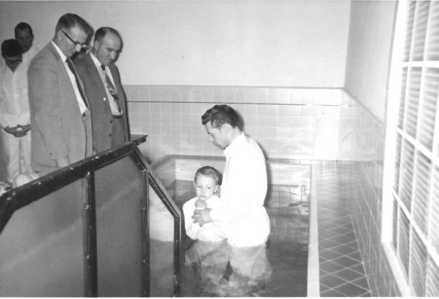 Jeff's baptism, February 28, 1959, by Lynn T. Richman at the Brigham 5th Ward