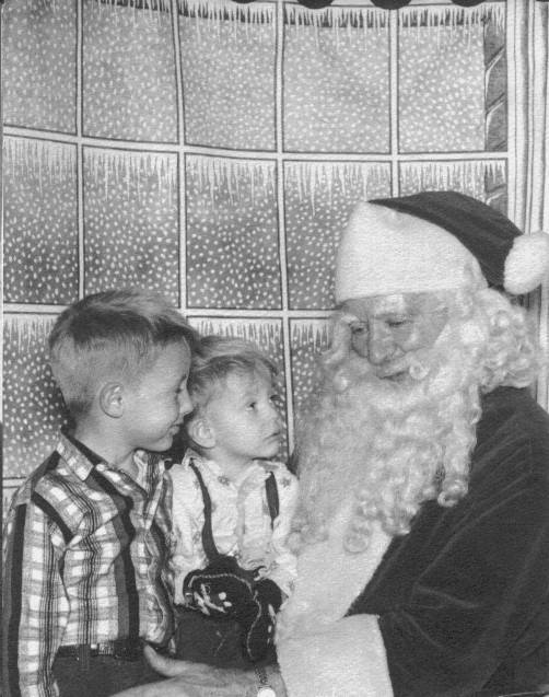 Jeff and Larry with Santa 1957
