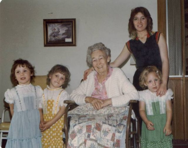 Jennifer, Julie, Grace, Joy, Becky, at Pioneer Memorial Nursing Home in Brigham City 1979