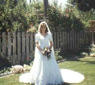 Jennifer in wedding dress in Boise