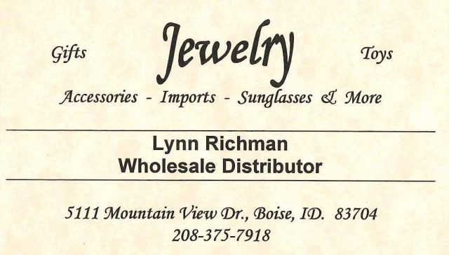 After Lynn retired from S&H, he started his own business importing and wholesaling all types of jewelry. Above are his business cards and below is a poster to recruit distributors.