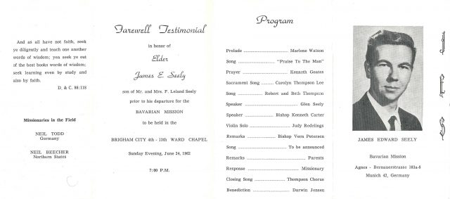 James Edward Seely Missionary Farewell program