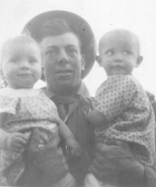 Leon Sinfield Richman holding Joan and Verda