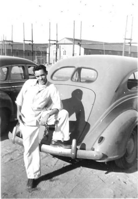 Joe Ward on a road trip in 1941 Chevy, Summer 1945 or 1946