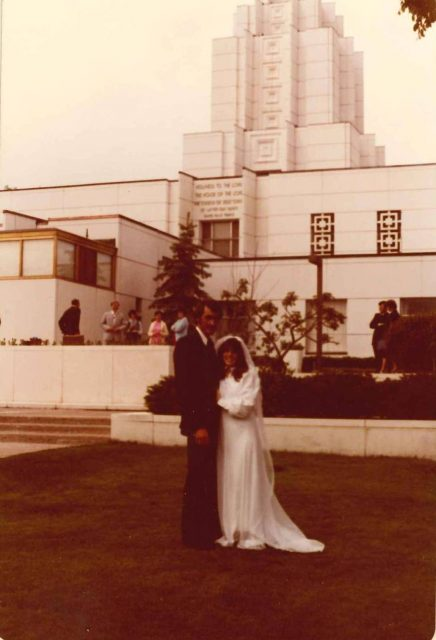 Blair Alton Jacobson and Joy Lynn Richman at the Idaho Falls Temple, June 5, 1980