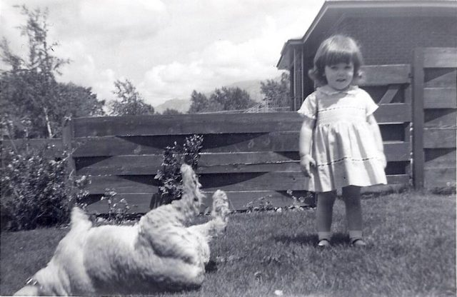"Joy and her dog Dutchess. ""She would sleep with her feet straight in the air. Every time she did this, I would run to mom crying because I thought she was dead. Larry was such a great brother, and would always comfort me…calling to Dutchess until she would wake up and run to us. I remember mom telling the story of how Dutchess fell asleep one day in the middle of the road. A gentleman stopped his car and came to our door. He struggled, trying tell us our dog must have been hit by a car. Boy was he surprised when mom called to Dutchess and she came running!"""