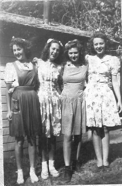 Joyce at Bear Lake with friends. Left to right: Joyce, Ruth, Charlene, Gloria.
