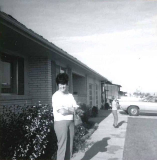 Joyce in front of Boise home