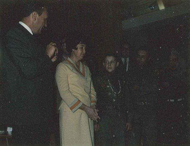 John Warnick, Joyce, Larry, Lynn at Larry's Eagle Court of Honor March 29, 1969