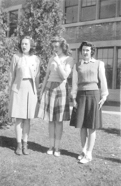 Joyce and high school friends senior year (1945-46), March 1946
