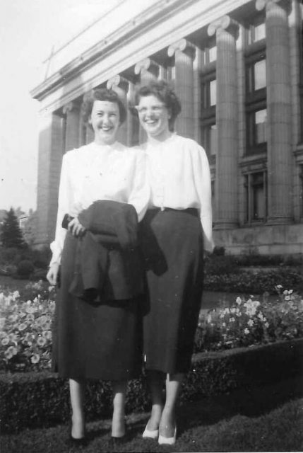 Joyce Seely and Mary Story at Church Office Building in Salt Lake City, 1949