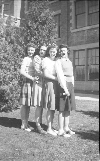 Joyce and high school friends senior year (1945-46), March 1946: Gloria Hansen, Ruth Stotter, Charlene Wight, Joyce