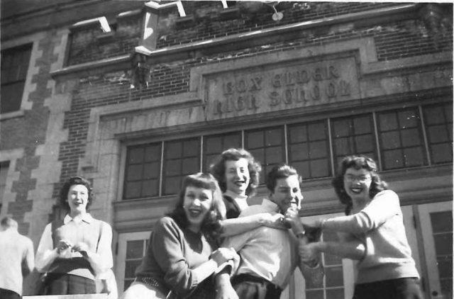 Joyce and high school friends. (Joyce on left.)