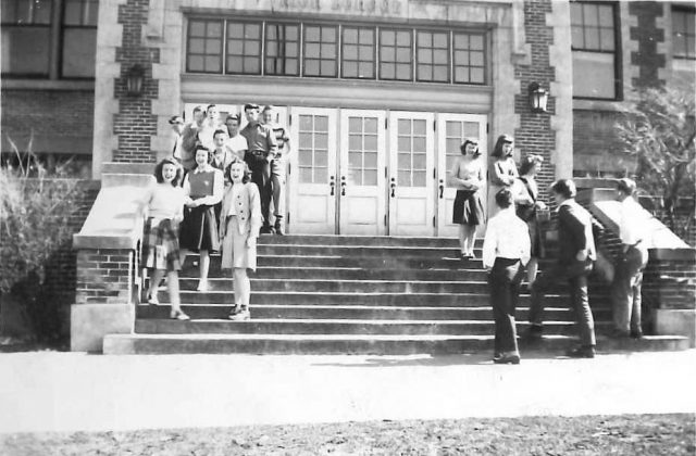 Joyce and high school friends. (Joyce front center.)