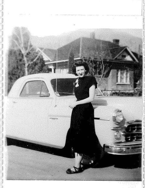 Joyce w Lynn's 1st new car 1949 Dodge