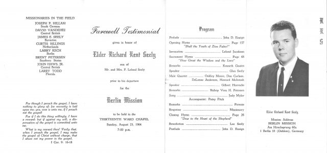 Richard Kent Seely missionary farewell program