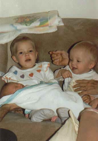 Lanae, Jamie, Jason (1 week old) 1985