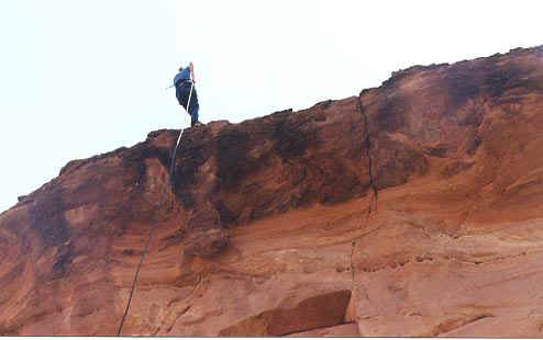 Repelling in Moab, 2001