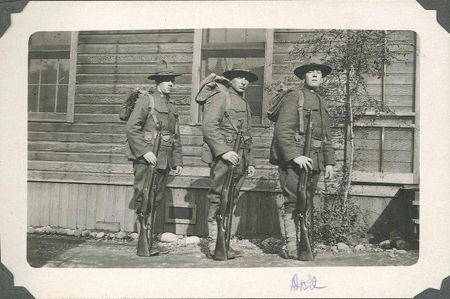 Leon in WWI; Leon is far right