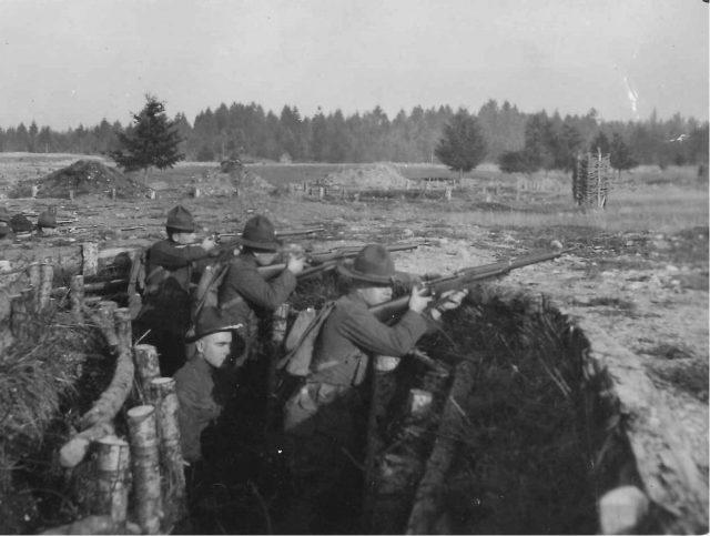Leon in WWI in a foxhole