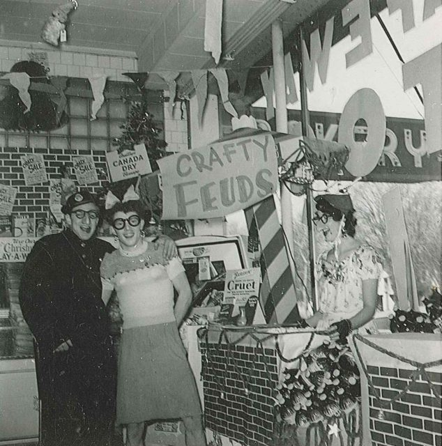 Lynn (center) with employee Jerry (left) at the Crazy Days sale at the O.P. Skaggs store at 744 E 400 S, Salt Lake City. Lynn managed this store for 1.5 to 2 years. Far right is Joyce, hired by Kraft Foods to demonstrate in the booth.