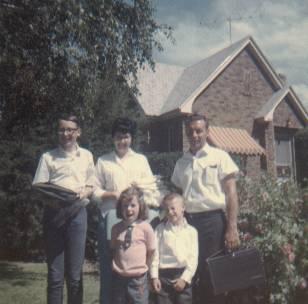 Jeff, Joyce, Lynn, Joy, Rick in Brigham City (Boston's neighbor's house in background)