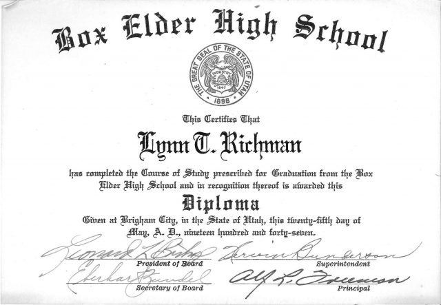 Lynn Richman's high school diploma
