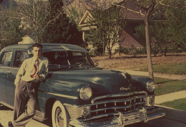 Lynn Richman's 1950 Chrysler New Yorker. In 1952, Lynn traded this car as down payment on inventory at Lynn's Market in Brigham.