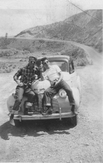 Duane Parsons and Lynn on a road trip in 1941 Chevy, Summer 1945 or 1946