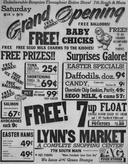 Newspaper article about the grand opening of Lynns Drive In AG Market in Brigham City Utah