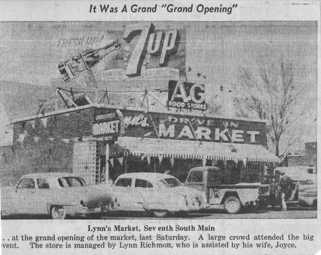 Lynn's Drive-in Market grand opening newspaper article, Brigham City, Utah.