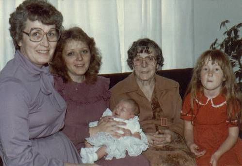 Merle, Teri, Lanae (baby), Mildred (Teri's paternal grandmother), Krista, May 1983