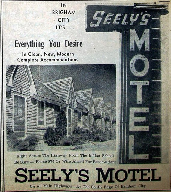 Seely's Motel ad in the Box Elder News & Journal Special Tourist Edition in the Summer of 1950