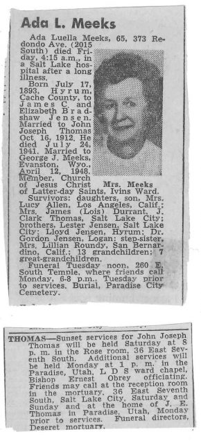 Obituary of John Joseph Thomas and wife Ada Luella Jensen Thomas (who later married George J. Meeks)