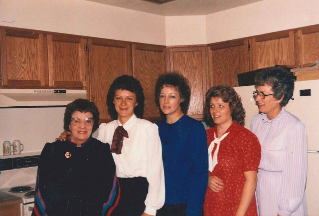 Reta, Donna, Mary, Teri, and Merle at Jason's blessing, November or December 1985
