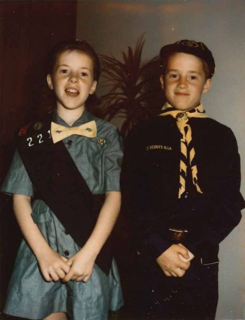 Joy and Rick Richman in scout uniforms